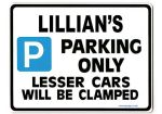 LILLIAN'S Personalised Parking Sign Gift | Unique Car Present for Her |  Size Large - Metal faced